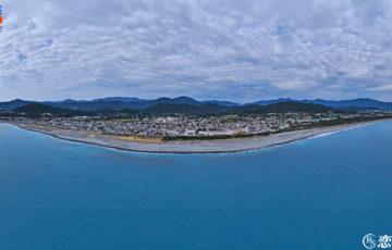 三重県熊野市「日本の渚百選 七里御浜海岸」/空撮